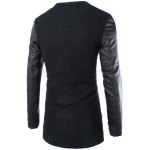 cheap Trendy Lapel Large Pocket PU Leather Splicing Slimming Long Sleeve Woolen Blend Coat For Men