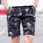 Buy Camouflage Style Straight Leg Zipper Fly Flower Print Slimming Men's Cotton Blend Shorts M