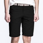 Buy Laconic Straight Leg Zipper Fly Solid Color Crimping Pocket Design Men's Fitted Shorts 29 BLACK