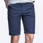 Buy Laconic Straight Leg Zipper Fly Solid Color Crimping Pocket Design Men's Fitted Shorts 29 DEEP BLUE