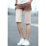Buy Casual Style Straight Leg Zipper Fly Crimping Ombre Design Loose Fit Men's Harem Shorts L COFFEE