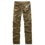 Buy Casual Straight Leg Loose Fit Multi-Pocket Sutures Design Zipper Fly Military Uniform Style Men's Pants 38 KHAKI