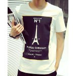 Buy Stylish Round Neck Color Block Letters Eiffel Tower Pattern Spliced Short Sleeves Men's Slim Fit T-Shirt 2XL