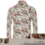 Buy Slimming Stylish Tiny Floral Print Men's Turn-Down Collar Long Sleeve Shirt 2XL OFF-WHITE