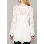 cheap Alluring Scoop Collar Long Sleeve See-Through Solid Color Lace Women's Dress