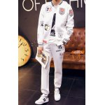 Buy Stylish Color Block Hot Air Balloon Print Polyester Slimming Men's Stand Collar Sweatshirt Sweatpants XL WHITE
