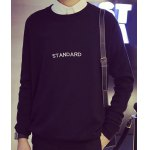 Buy Fashion Round Neck Letter Embroidered Loose Fit Long Sleeve Polyester Sweater Men XL BLACK