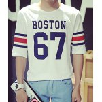 Buy Summer Stylish Round Neck Letters Print Colorized Stripes Spliced Half Sleeves Men's Slim Fit T-Shirt L
