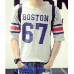 Buy Summer Stylish Round Neck Letters Print Colorized Stripes Spliced Half Sleeves Men's Slim Fit T-Shirt