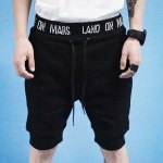 Buy Slimming Trendy Lace-Up Letter Design Rib Splicing Beam Feet Men's Cotton Blend Shorts L BLACK