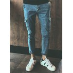 Buy Vintage Style Pocket Zipper Fly Solid Color Narrow Feet Men's Nine Minutes Jeans M LIGHT BLUE