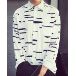 Buy White Slimming Irregular Striped Turn-Down Collar Long Sleeve Men's Cotton Blends Shirt-19.03 Online Shopping GearBest.com