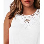Plus Size Stylish Round Neck Sleeveless Solid Color Hollow Out Women's Tank Top deal