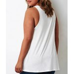 cheap Plus Size Stylish Round Neck Sleeveless Solid Color Hollow Out Women's Tank Top