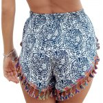 Ethnic Style Full Print Tassel Spliced Shorts For Women photo
