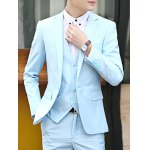 Causal Style Lapel Color Block Breast Pocket Single-Breasted Long Sleeves Men's Slim Fit Blazer Suits(Blazer+Pants) deal