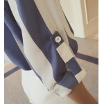 Stylish Turn-Down Collar Long Sleeve Vertical Striped Loose-Fitting Blouse For Women photo