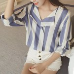 cheap Stylish Turn-Down Collar Long Sleeve Vertical Striped Loose-Fitting Blouse For Women