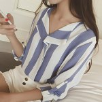 Stylish Turn-Down Collar Long Sleeve Vertical Striped Loose-Fitting Blouse For Women deal