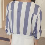 Stylish Turn-Down Collar Long Sleeve Vertical Striped Loose-Fitting Blouse For Women for sale