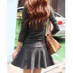 Stylish V-Neck Long Sleeve Flounced Solid Color Women's Dress deal