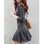 cheap Stylish V-Neck Long Sleeve Flounced Solid Color Women's Dress
