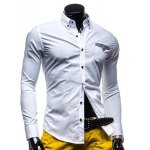 Buy Stylish Shirt Collar Color Block Tiny Checked Splicing Slimming Long Sleeve Polyester Button-Down Men 2XL