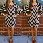 cheap Fashionable Color Block Zigzag Printed Dress For Women