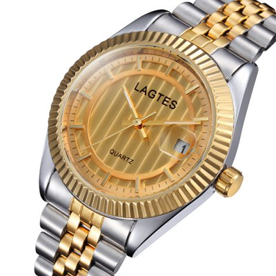Lagtes Date Function Quartz Watch Alloy Band Lover Wristwatch