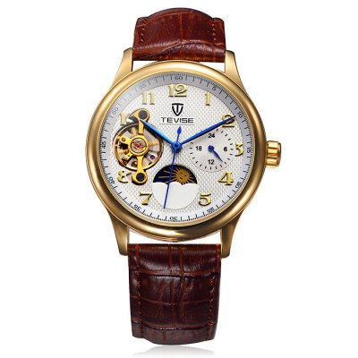 Tevise Tourbillon Design Leather Band Men Automatic Mechanical WatchMechanical Watches<br>Tevise Tourbillon Design Leather Band Men Automatic Mechanical Watch<br><br>Brand: Tevise<br>Watches categories: Male table<br>Watch style: Business<br>Movement type: Automatic mechanical watch<br>Shape of the dial: Round<br>Display type: Analog<br>Case material: Alloy<br>Band material: Leather<br>Clasp type: Pin buckle<br>Special features: Phases of the moon, Working small two stitches, Tourbillon<br>The dial thickness: 1.4 cm / 0.55 inches<br>The dial diameter: 3.9 cm / 1.53 inches<br>Product weight: 0.065 kg<br>Package weight: 0.115 kg<br>Product size (L x W x H): 19 x 3.9 x 1.4 cm / 7.47 x 1.53 x 0.55 inches<br>Package size (L x W x H): 20 x 4.9 x 2.4 cm / 7.86 x 1.93 x 0.94 inches<br>Package Contents: 1 x Tevise Automatic Mechanical Watch