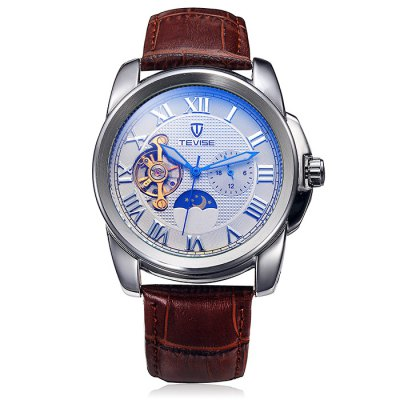 Tevise Men Tourbillon Automatic Mechanical Watch with Leather StrapMechanical Watches<br>Tevise Men Tourbillon Automatic Mechanical Watch with Leather Strap<br><br>Brand: Tevise<br>Watches categories: Male table<br>Watch style: Business<br>Available color: White, Blue<br>Movement type: Automatic mechanical watch<br>Shape of the dial: Round<br>Display type: Analog<br>Case material: Alloy<br>Band material: Leather<br>Clasp type: Pin buckle<br>Special features: Phases of the moon, Tourbillon, Working small two stitches<br>The dial thickness: 1.4 cm / 0.55 inches<br>The dial diameter: 4.4 cm / 1.73 inches<br>Product weight: 0.051 kg<br>Package weight: 0.101 kg<br>Product size (L x W x H): 20.5 x 4.4 x 1.4 cm / 8.06 x 1.73 x 0.55 inches<br>Package size (L x W x H): 21.5 x 5.4 x 2.4 cm / 8.45 x 2.12 x 0.94 inches<br>Package Contents: 1 x Tevise Automatic Mechanical Watch