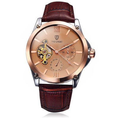 Tevise Men Tourbillon Design Automatic Mechanical Watch with Leather Band
