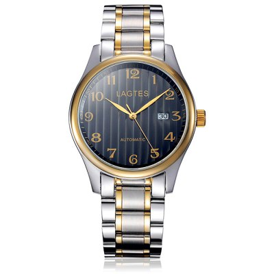 Lagtes Male Date Display Automatic Mechanical Watch with Stainless Steel Band