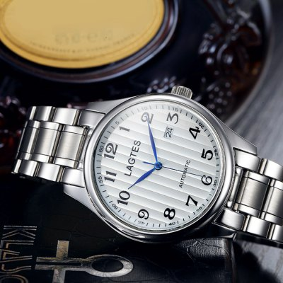 Фотография Lagtes Male Date Display Automatic Mechanical Watch with Stainless Steel Band