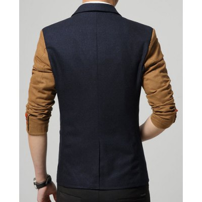 Гаджет   Elegant Printed Pocket Metal Embellished Color Spliced Lapel Long Sleeves Men