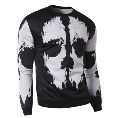 Trendy Round Neck 3D Abstract Print Slimming Long Sleeve Cotton Blend Sweatshirt For Men