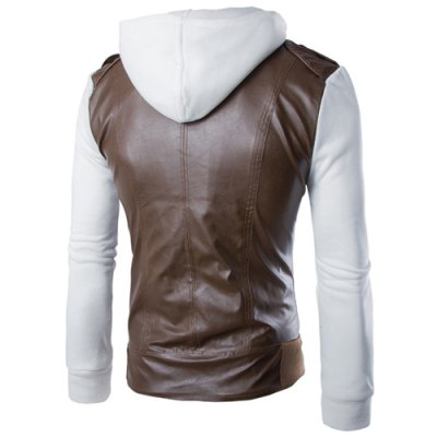 Hit Color Zipper Pocket Epaulet Design Hooded Knitted Long Sleeves Mens Slim Fit PU Leather CoatMens Jakets &amp; Coats<br>Hit Color Zipper Pocket Epaulet Design Hooded Knitted Long Sleeves Mens Slim Fit PU Leather Coat<br><br>Clothes Type: Leather &amp; Suede<br>Material: Faux Leather, Cotton<br>Collar: Hooded<br>Clothing Length: Regular<br>Style: Fashion<br>Weight: 0.617KG<br>Sleeve Length: Long Sleeves<br>Season: Winter, Fall<br>Package Contents: 1 x Coat