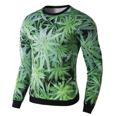Фотография Modish Round Neck 3D Green Leaves Print Slimming Long Sleeve Cotton Blend Sweatshirt For Men