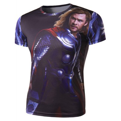 Гаджет   Stylish Round Neck 3D Character Pattern Slimming Short Sleeve Polyester Quick-Dry T-Shirt For Men T-Shirts
