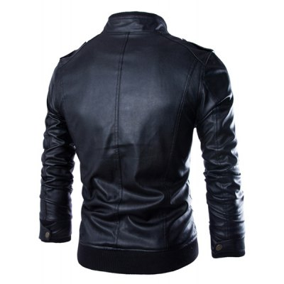 Гаджет   PU Leather Stand Collar Horizontal Zipper Epaulet Rib Spliced Long Sleeves Men