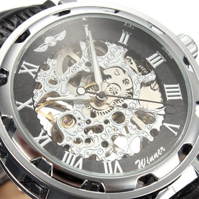 ФОТО Winner Hollow-out Men Mechanical Watch with Leather Band