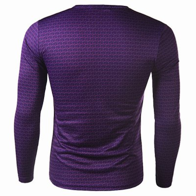 Фотография Stylish Round Neck 3D Superman Print Slimming Long Sleeve Quick-Dry T-Shirt For Men