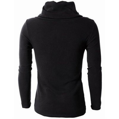 Irregular Hem Color Spliced Zipper Design Long Sleeves Slimming Men
