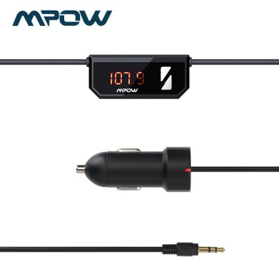 MPOW Streambot Car FM Transmitter 3.5mm Jack Cable with USB Car Charger Support Hands-free for iPhone 6 / 6 Plus / Samsung S6 etc.