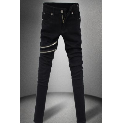 Nightclub Narrow Feet Double Zipper Bleach Wash Slimming Men's Zipper Fly Black Jeans
