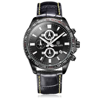 ФОТО MEGIR 3001 Water Resistance Men Japan Quartz Watch with Genuine Leather Strap