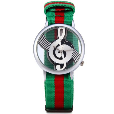 Гаджет   9687 Musical Note Pattern Transparent Dial Male Quartz Watch with Canvas Band Men