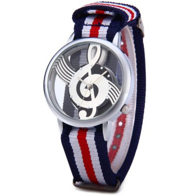 9687 Musical Note Pattern Transparent Dial Male Quartz Watch with Canvas Band