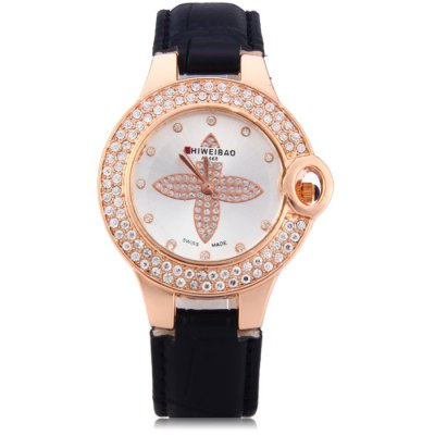 Shiweibao A1468 Female Diamond Quartz Watch with Leather Band от GearBest.com INT