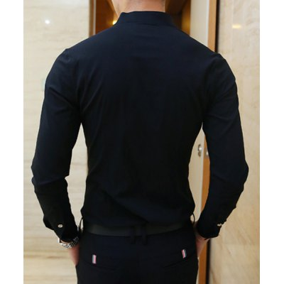 Гаджет   Stylish Stand Collar Special French Front Solid Color Slimming Men